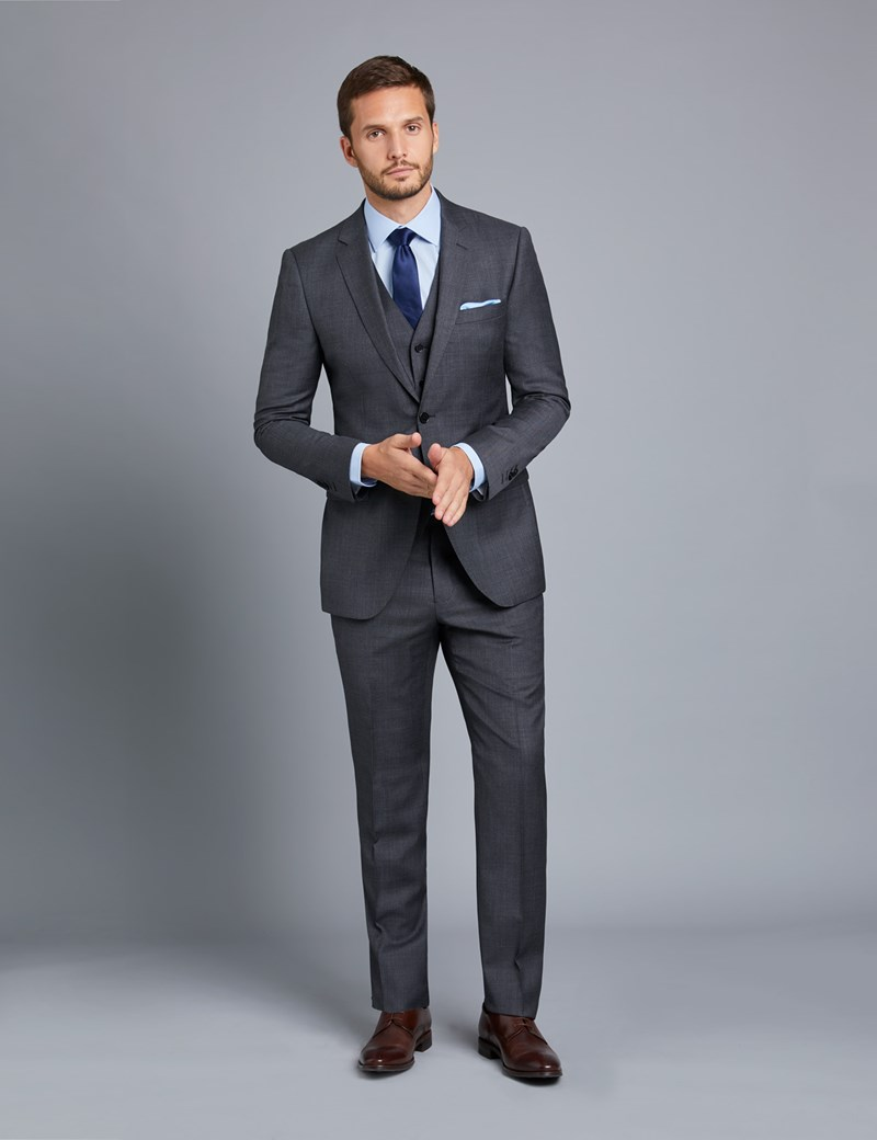 Weste - Slim Fit - 100S Wolle - Twill anthrazit