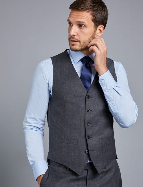 Men's Charcoal Twill Slim Fit Vest