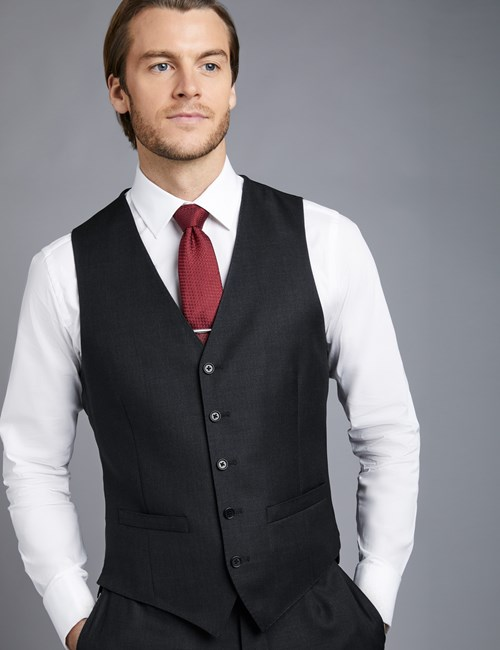 Men's Dark Charcoal Twill Slim Fit Vest