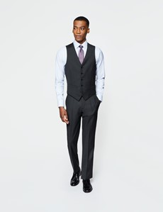 Men's Dark Charcoal Twill Slim Fit Waistcoat