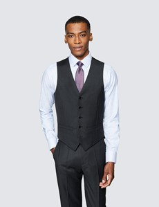 Weste - Slim Fit - 100S Wolle - Twill dunkles anthrazit