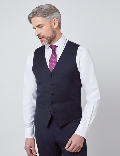 Men's Navy Twill Slim Fit Waistcoat