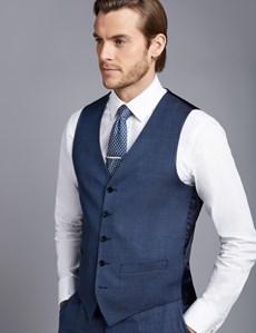 Men's Mid Blue Birdseye Slim Fit Waistcoat