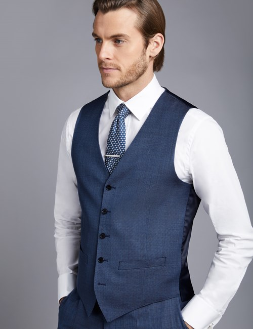 Men's Mid Blue Birdseye Slim Fit Vest