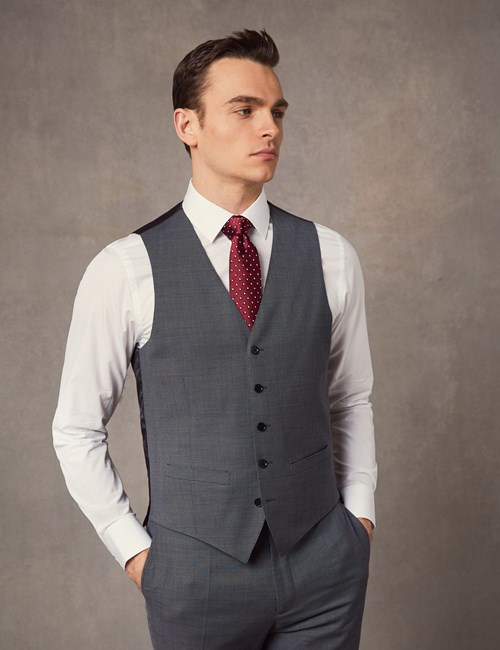 Men's Mid Grey Birdseye Slim Fit Vest