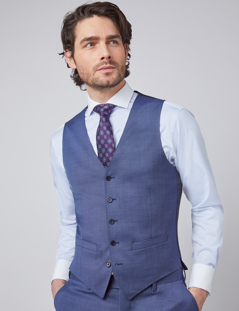 Men's Blue Pin Dot Semi Plain Slim Fit Vest