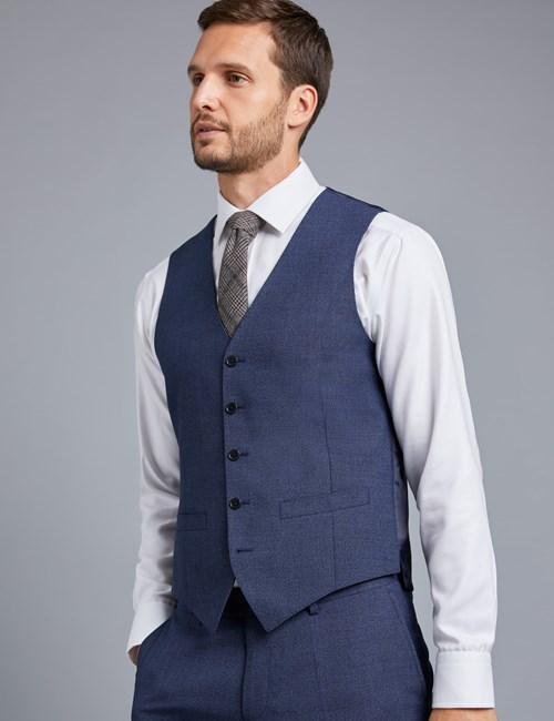 Men's Dark Blue Textured Slim Fit Vest