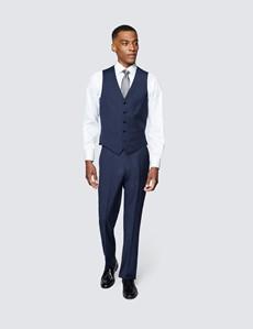 Men's Blue Semi Plain Zigzag Slim Fit Waistcoat