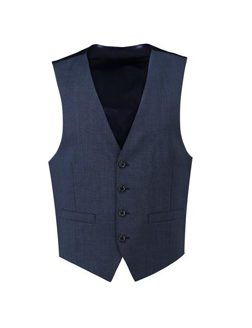 Men's Blue Twill Slim Fit Suit Vest - Super 120s Wool