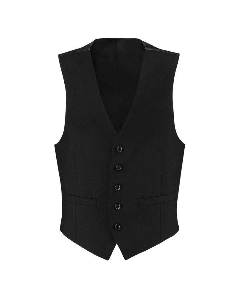 Men's Black Twill Slim Fit Suit Vest - Super 120s Wool