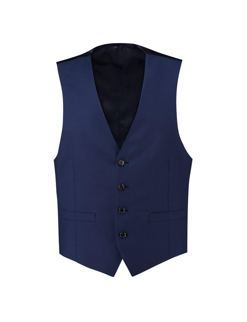 Men's Royal Blue Twill Slim Fit Suit Waistcoat - Super 120s Wool