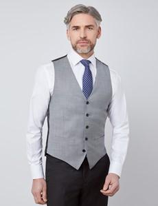 Men's Grey Twill Slim Fit Suit Waistcoat - 120s Wool