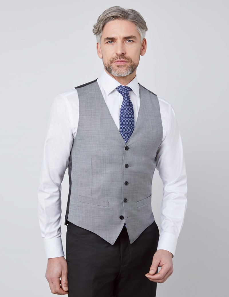 Men's Grey Twill Slim Fit Suit Vest - 120s Wool