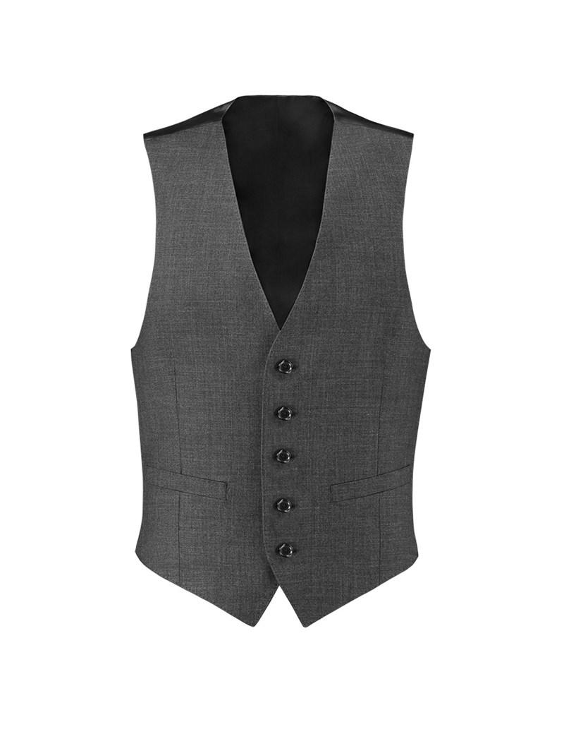 Men's Charcoal Twill Slim Fit Suit Vest - 120s Wool