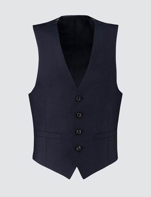 Men's Deep Navy Twill Slim Fit Waistcoat - Super 120s Wool