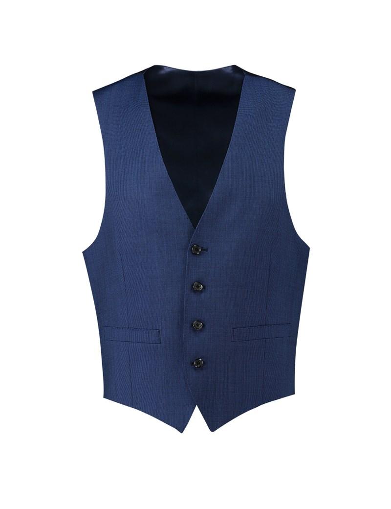 Men's Blue End On End Slim Fit Suit Vest