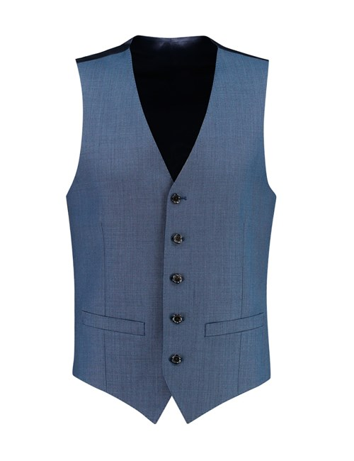 Weste - Slim Fit  - 120S Wolle - Sharkskin blau