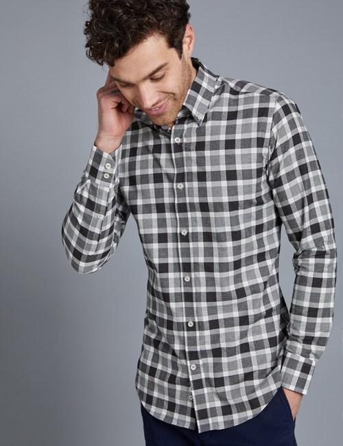 Button Down Hemd – Slim Fit – Baumwolle – Grau & weiß kariert