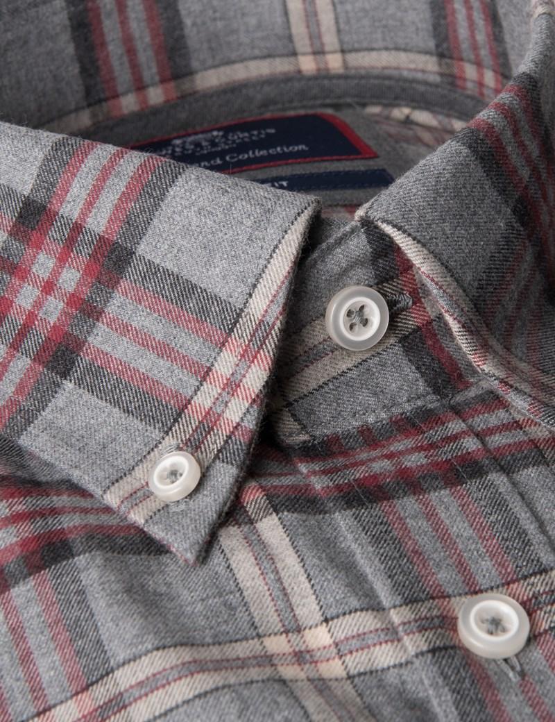 Men's Grey & Red Multi Plaid Slim Fit Shirt - Single Cuff