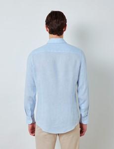 Men's Blue & White Check Linen Shirt With Full Cutaway Collar