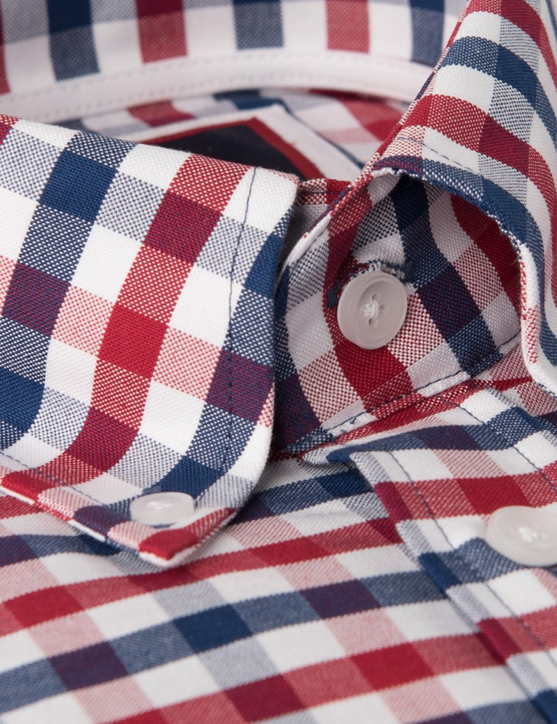 Men's Navy & Red Grid Check Slim Fit Shirt - Single Cuff