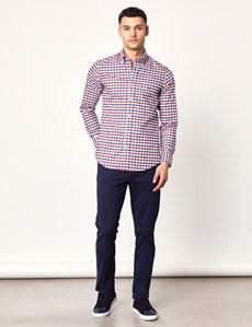 Men's Navy & Red Grid Check Slim Fit Shirt - Single Cuff
