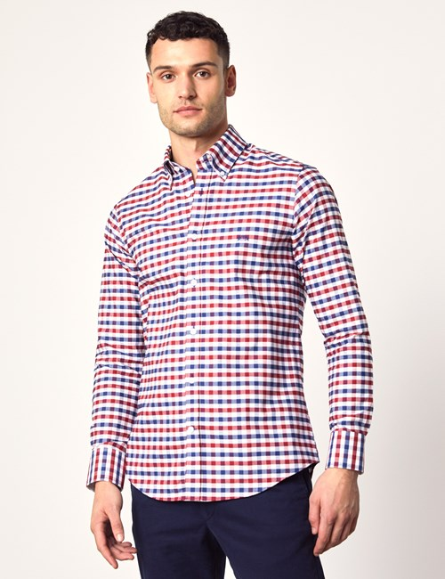 Oxford Hemd – Slim Fit – Button-Down – Baumwolle – Kariert marine & rot