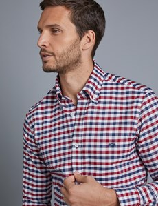 Men's Navy & Red Grid Plaid Slim Fit Shirt - Single Cuff - Button Down