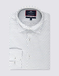 Men's Navy & White Print Slim Fit Linen Shirt - Single Cuff