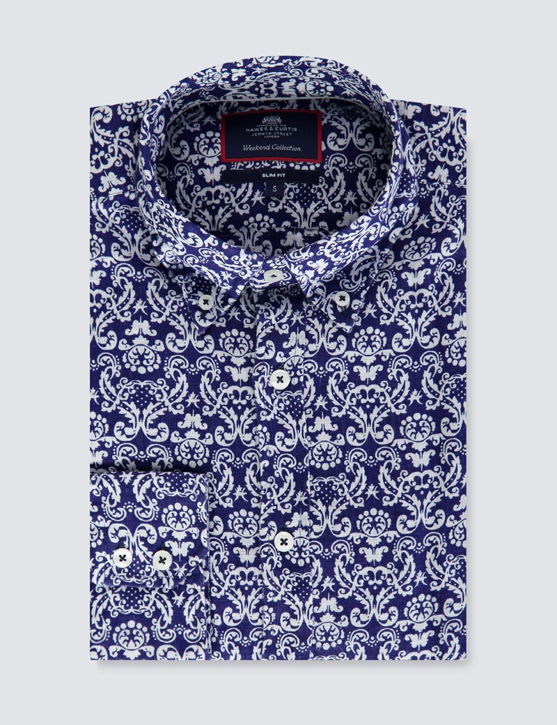 Men's Navy & White Geometric Print Slim Fit Linen Shirt - Single Cuff