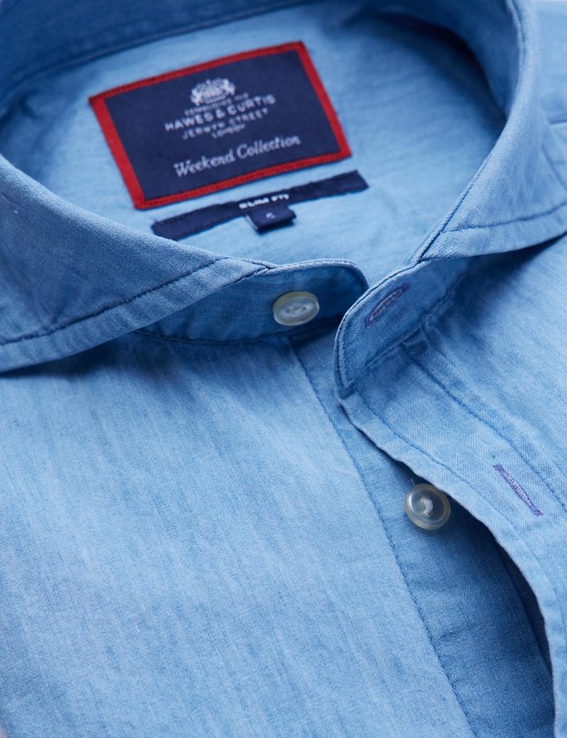 Men's Light Denim Relaxed Slim Fit Shirt