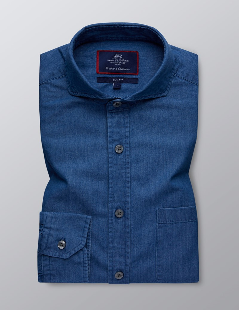 Men's Dark Denim Relaxed Slim Fit Shirt - Windsor Collar