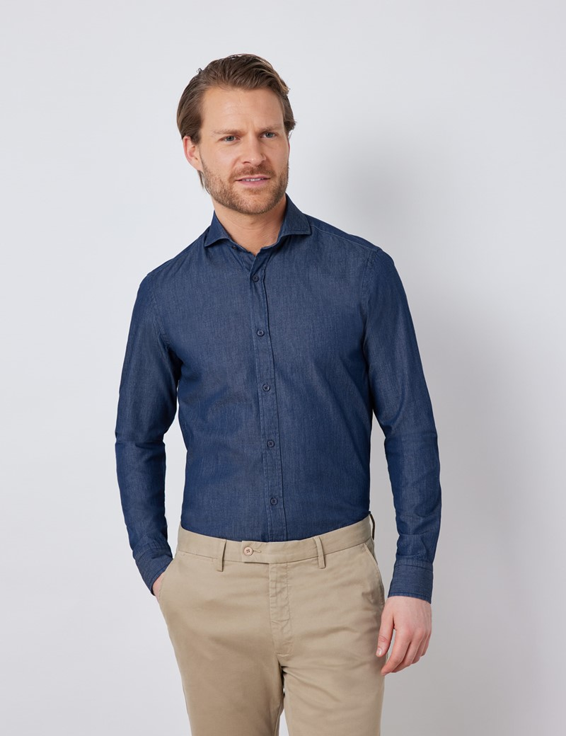 Men's Dark Denim Relaxed Slim Fit Shirt - Windsor Collar