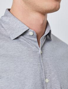 Men's Grey Diamonds Cotton Slim Fit Jersey Shirt