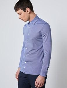 Men's Navy Diamonds Cotton Slim Fit Jersey Shirt