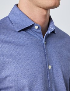 Men's Navy Diamonds Cotton Slim Fit Jersey Shirt