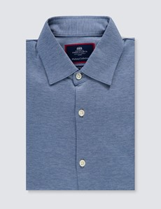 Men's Denim Blue Cotton Slim Fit Jersey Shirt