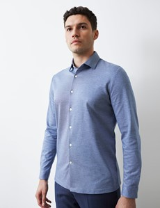 Men's Denim Blue Cotton Slim Fit Jersey Shirt