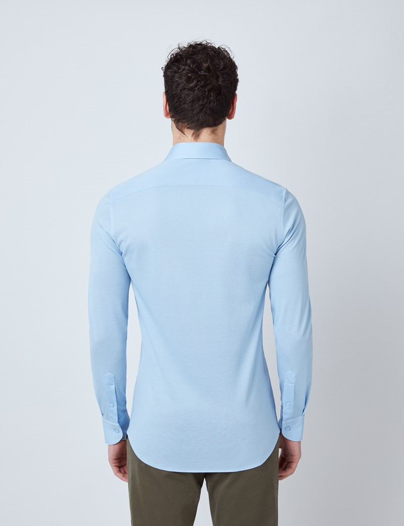 Blue Mercerised Egyptian Cotton Pique Shirt