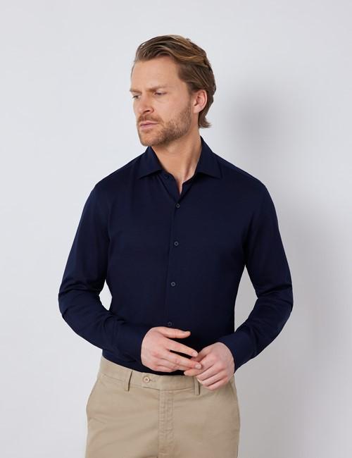 Navy Mercerised Egyptian Cotton Pique Shirt
