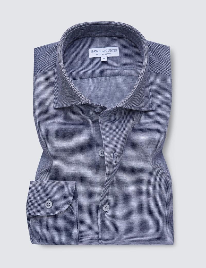 Navy & White Mercerised Egyptian Cotton Pique Shirt
