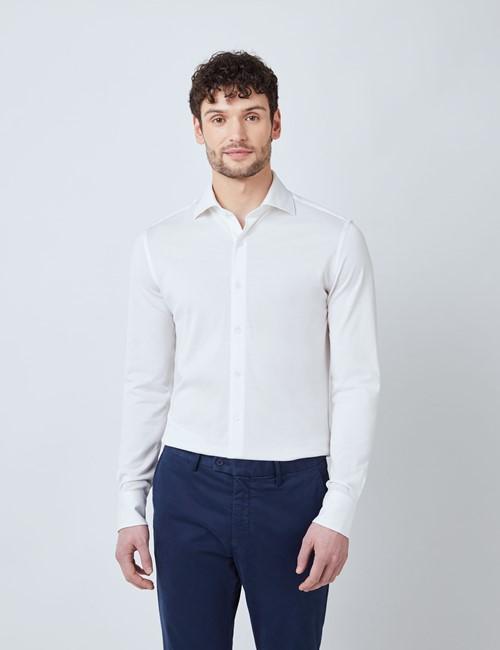 White Mercerised Egyptian Cotton Pique Shirt