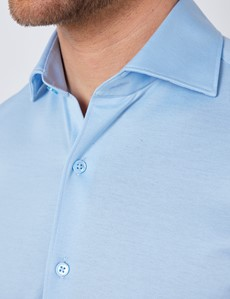 Blue Mercerized Egyptian Cotton Single Jersey Shirt