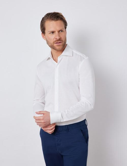 White Mercerized Egyptian Cotton Single Jersey Shirt