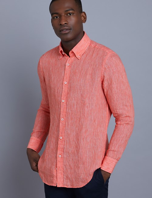 Men's Textured Coral Slim Fit Linen Shirt - Single Cuff