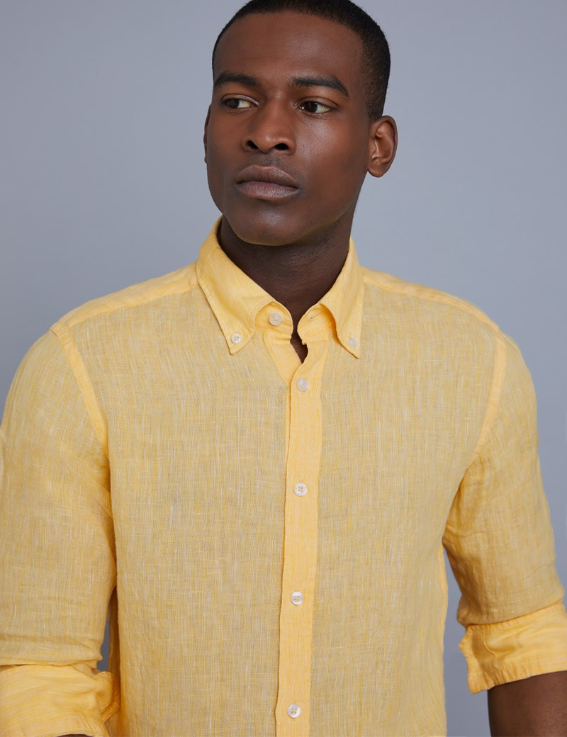 Men's Textured Yellow Slim Fit Linen Shirt - Single Cuff