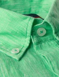Button Down Hemd – Slim Fit – Leinen – Grasgrün
