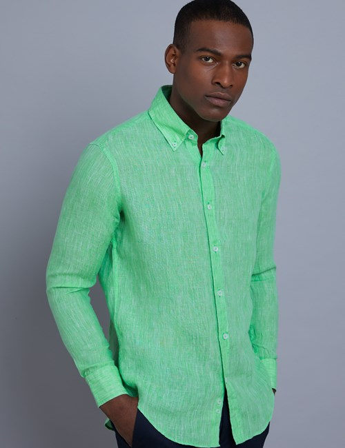Men's Textured Green Slim Fit Linen Shirt - Single Cuff