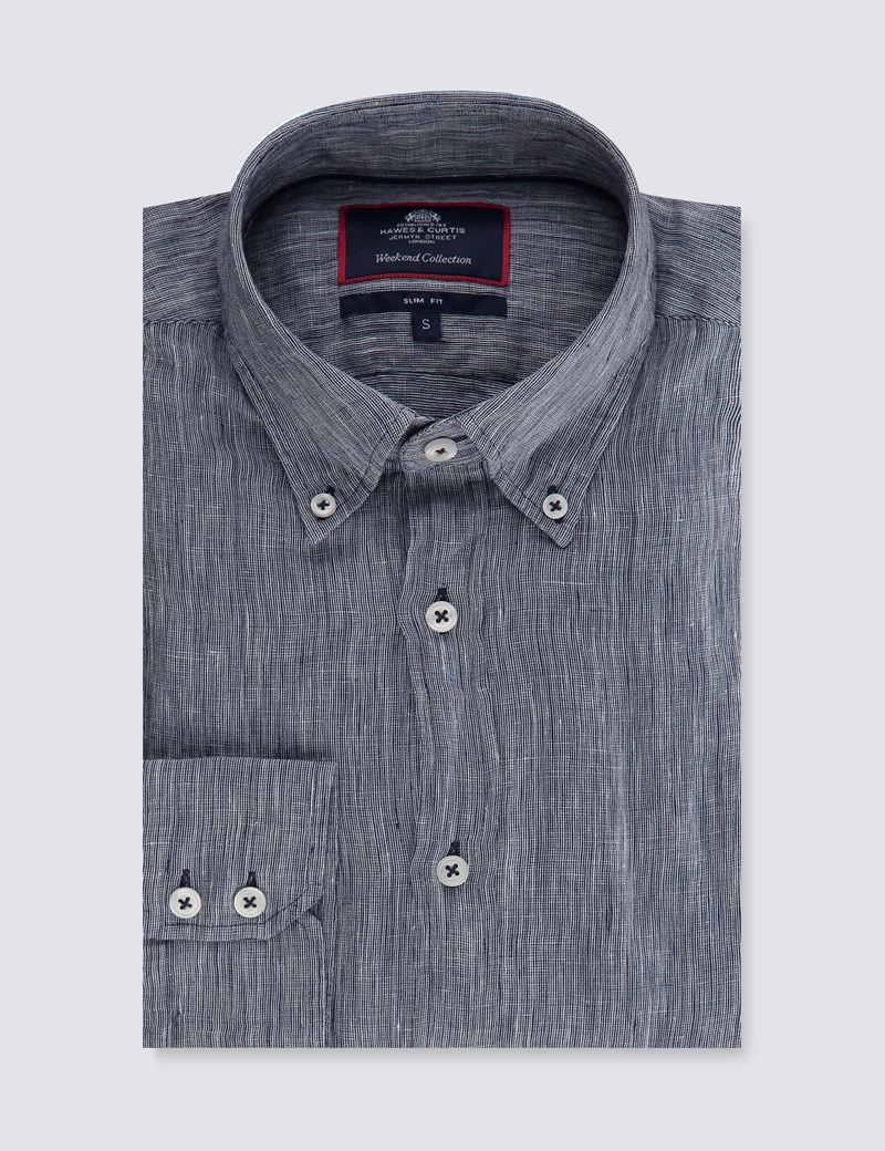 Men's Textured Navy Slim Fit Linen Shirt - Single Cuff