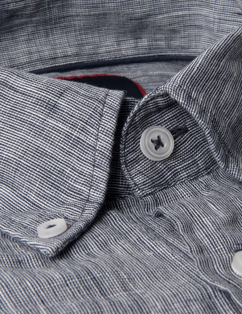 Men's Textured Navy Slim Fit Linen Shirt - Single Cuff